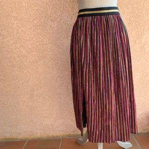 Topshop stretch knit glitter stripe skirt